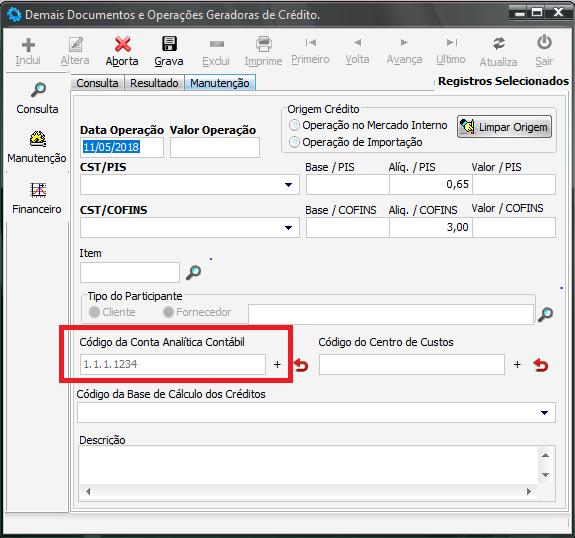 Conta Contábil na tela de operações geradoras geradoras de contribuição ou crédito de PIS e COFINS
